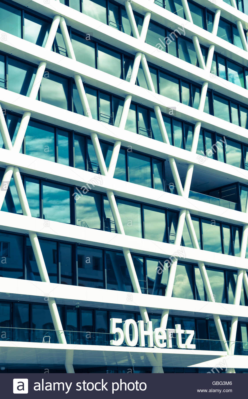 Detail of facade of new headquarters of 50Hertz power company under construction in new Europacity property development - Stock Image