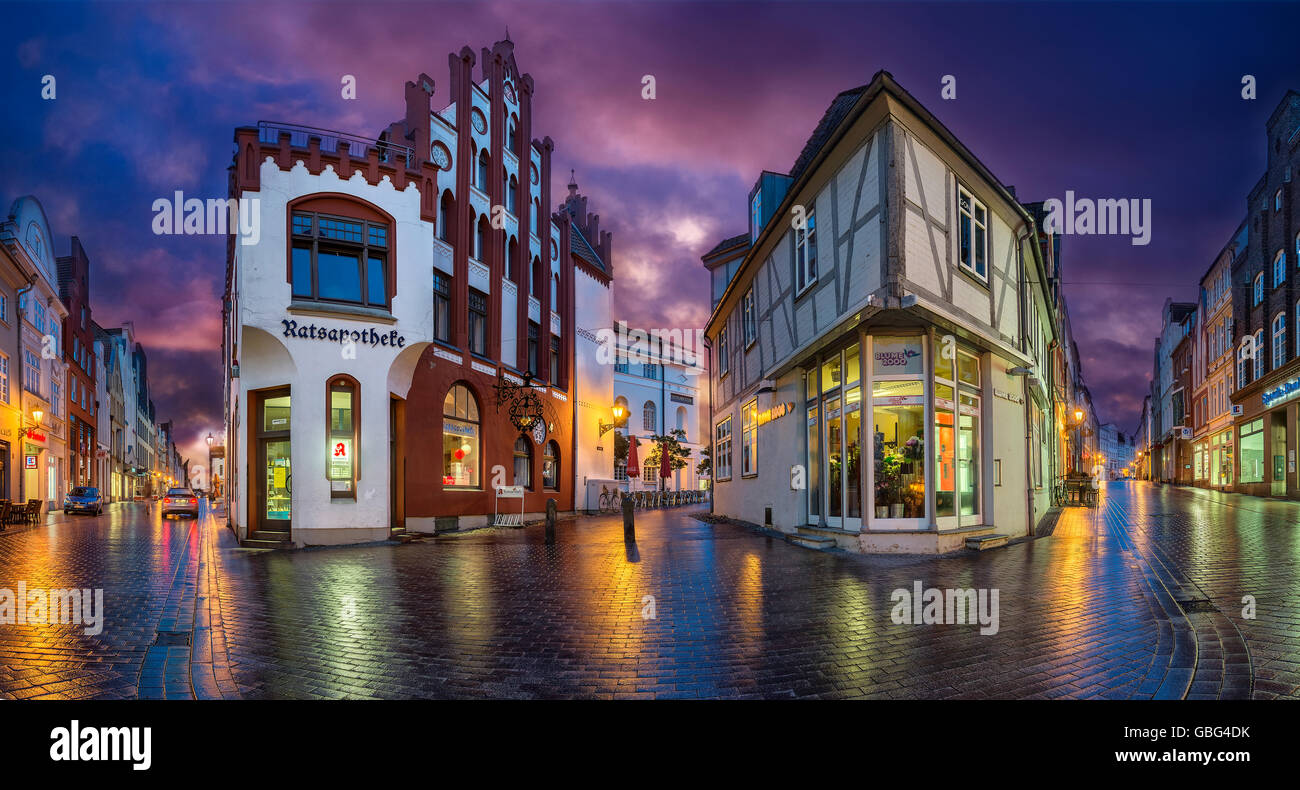 Shopping streets, Wismar, Germany - Stock Image