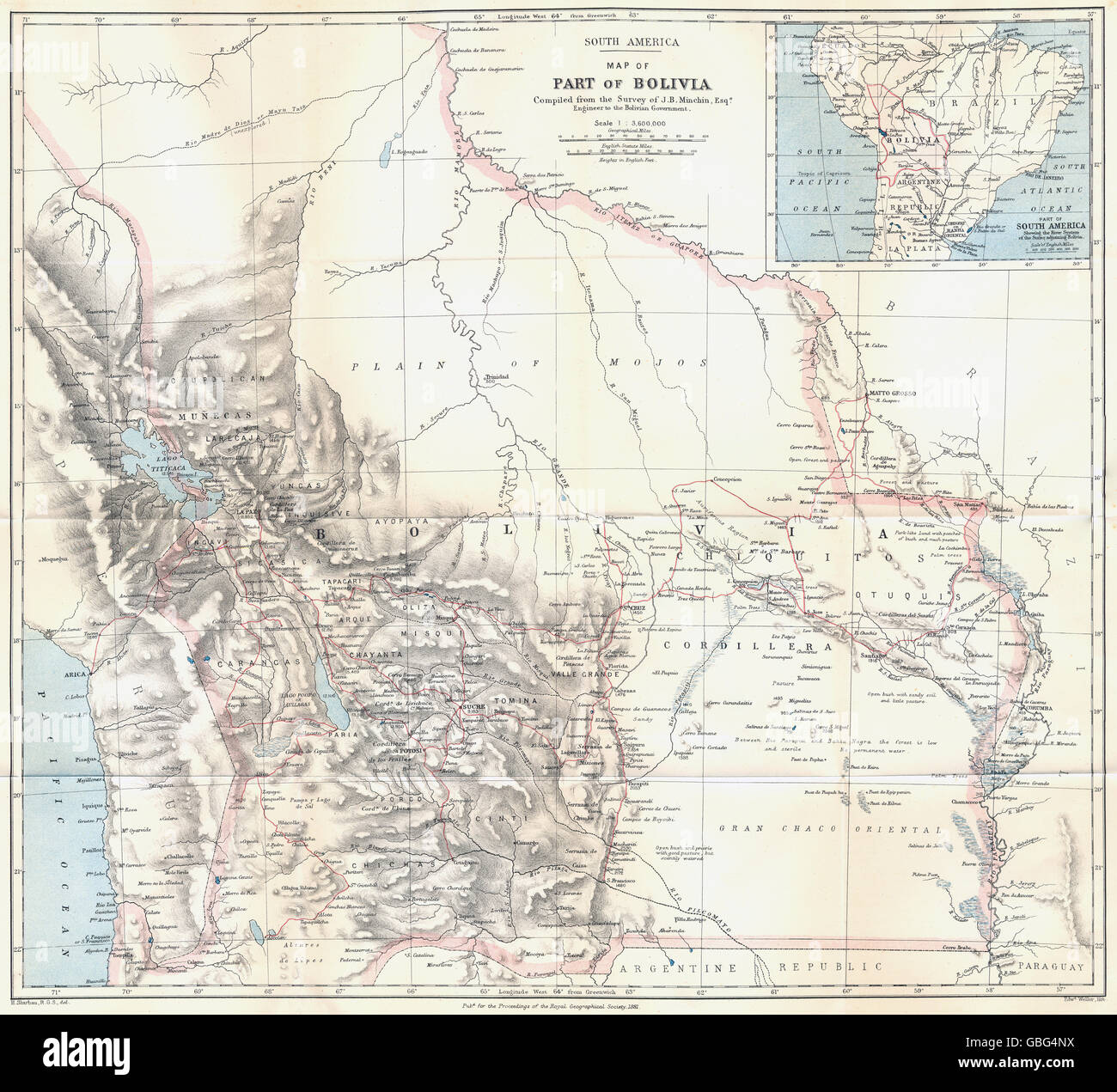 BOLIVIA: Pre War of the Pacific border changes. Surveyed Minchin. RGS, 1881 map - Stock Image
