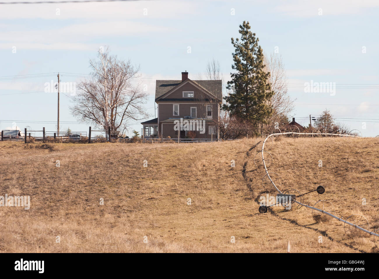 Old farm house on a hill - Stock Image