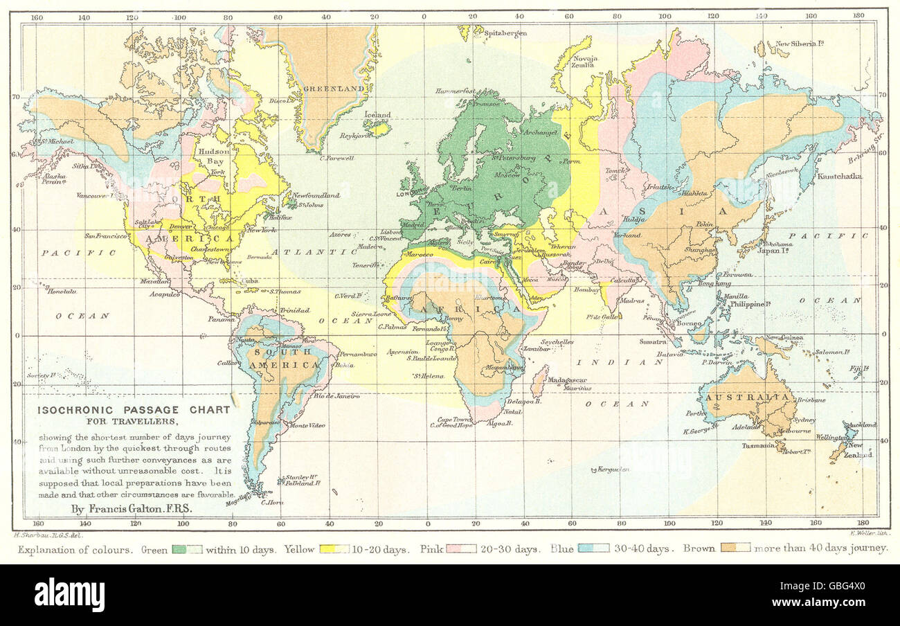 Travel Map London.World Isochronic Travel Map Showing Days Travel From London Galton