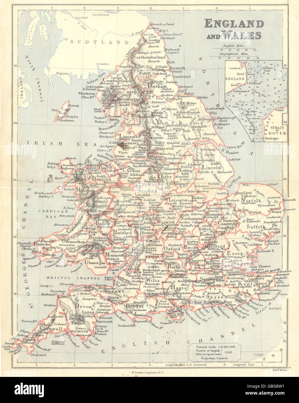 England Wales Showing Counties Inset Dover Strait