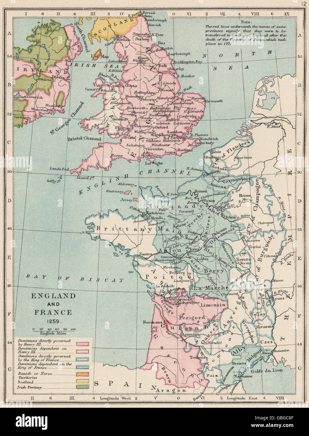 ENGLAND & FRANCE: Kingdoms & dependencies in 1259. English possessions,  1907 map -