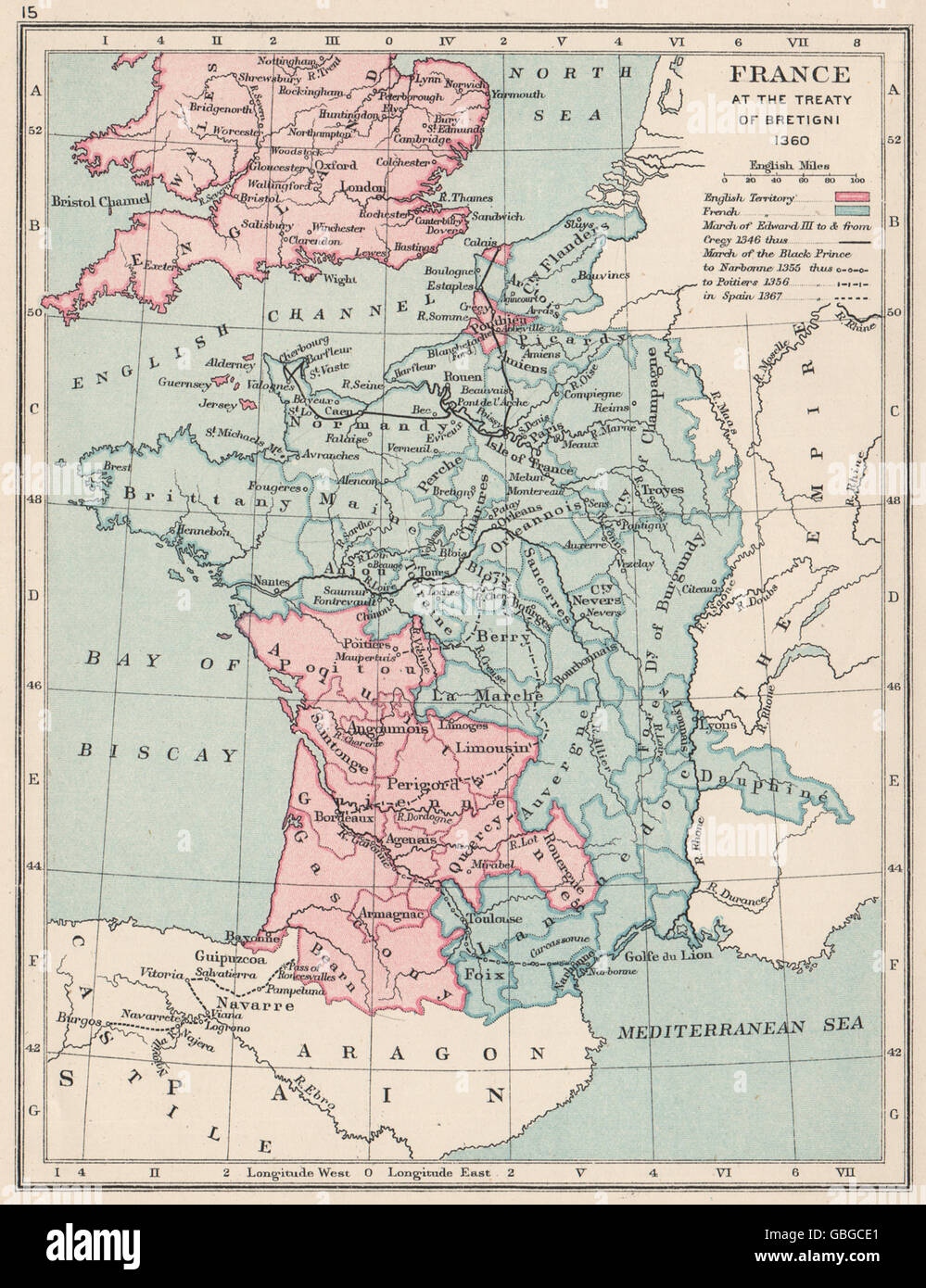 HUNDRED YEARS WAR: France in 1360: Treaty of Bretigny. English lands, 1907 map - Stock Image
