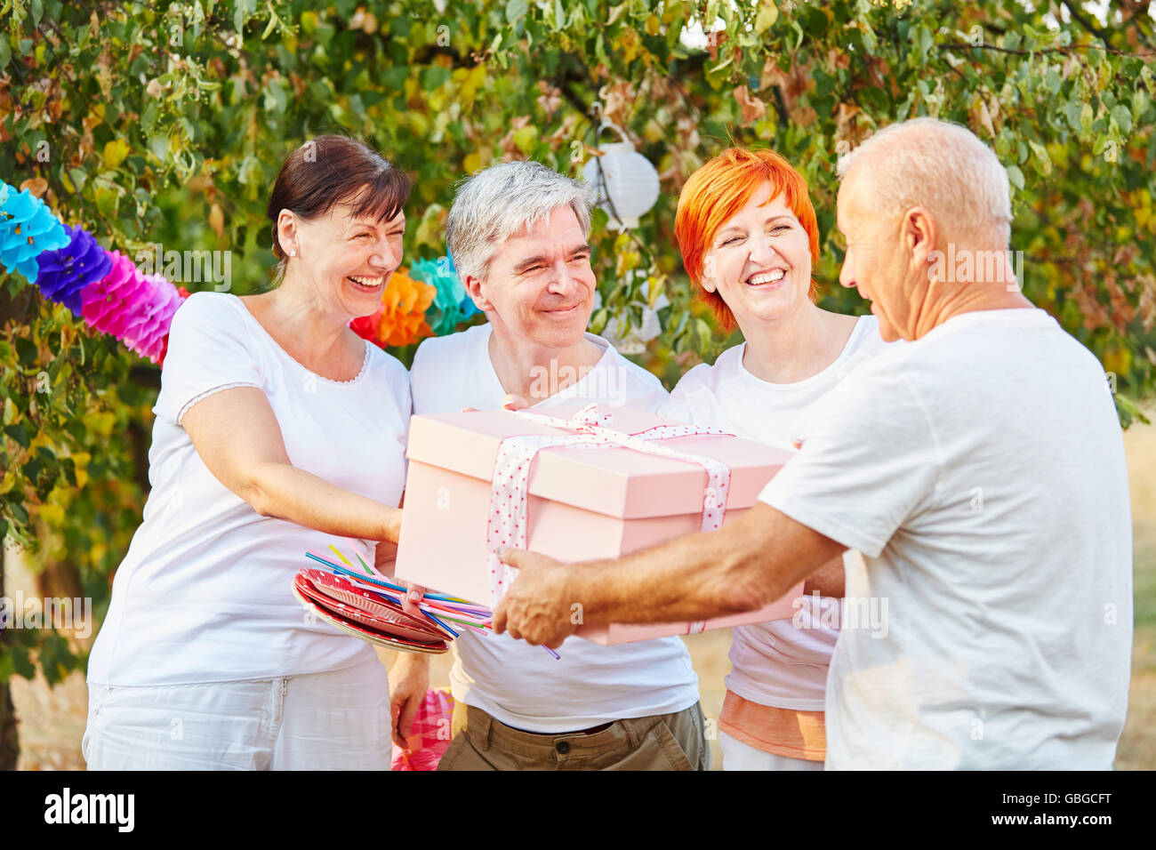 Group of happy seniors with birthday present in a garden in summer - Stock Image