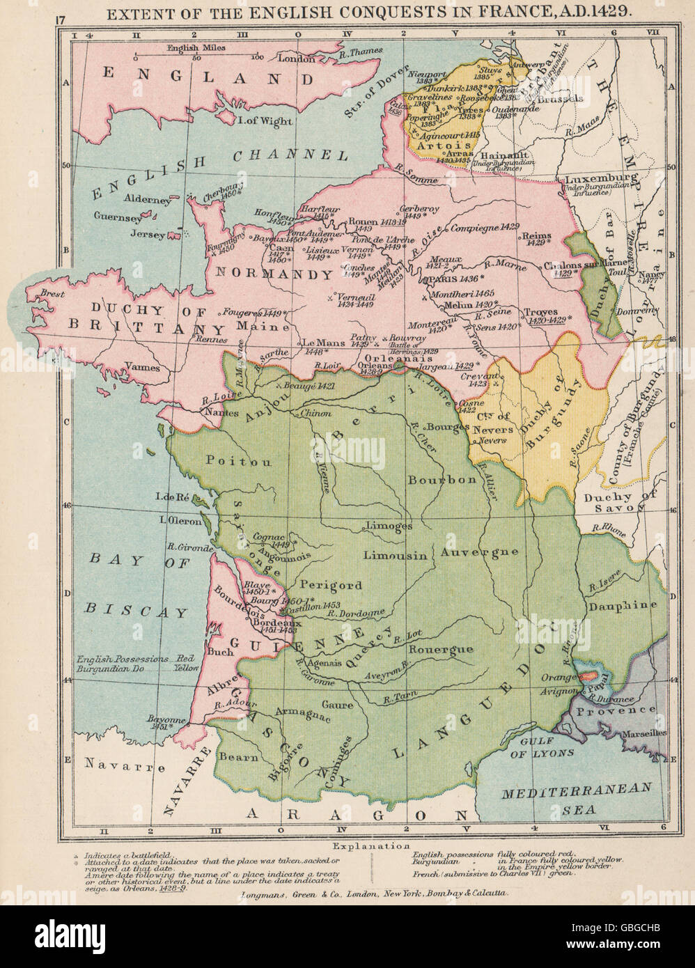 HUNDRED YEARS WAR: English Conquests in France, 1429, 1907 antique map - Stock Image