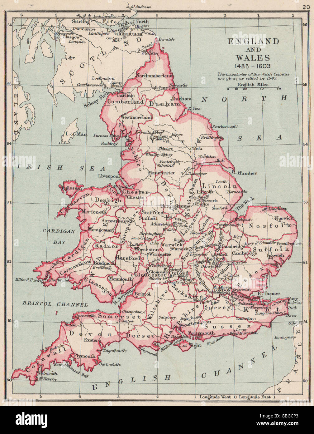 Map Of England And Wales Showing Counties.England And Wales 1485 1603 Showing Counties Towns 1907