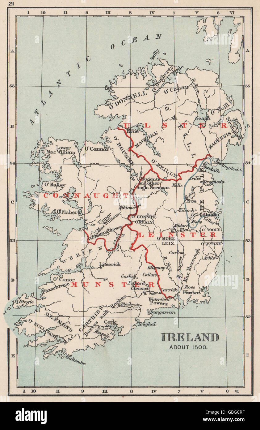 IRELAND IN 1500: Showing clan names kingdoms 'The Pale' provinces, 1907 map - Stock Image