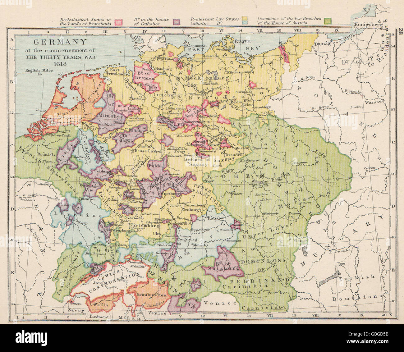 Map Of Germany 30 Years War.Germany 1618 30 Years War Protestant Catholic States
