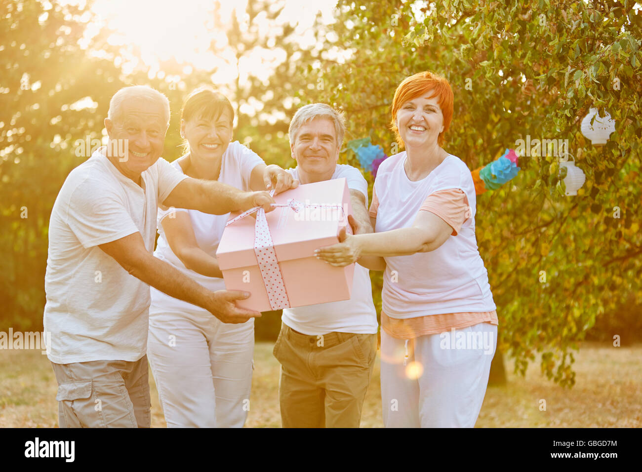 Group of seniors with gift at a summer party in a garden - Stock Image