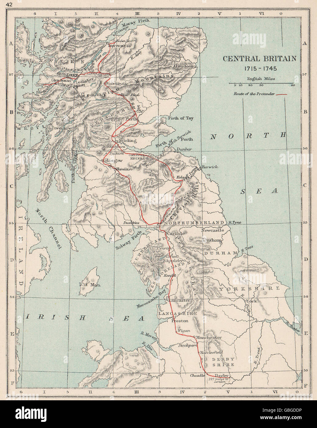 BONNIE PRINCE CHARLIE: 'Route of the (young) pretender' 1715-1745, 1907 map - Stock Image