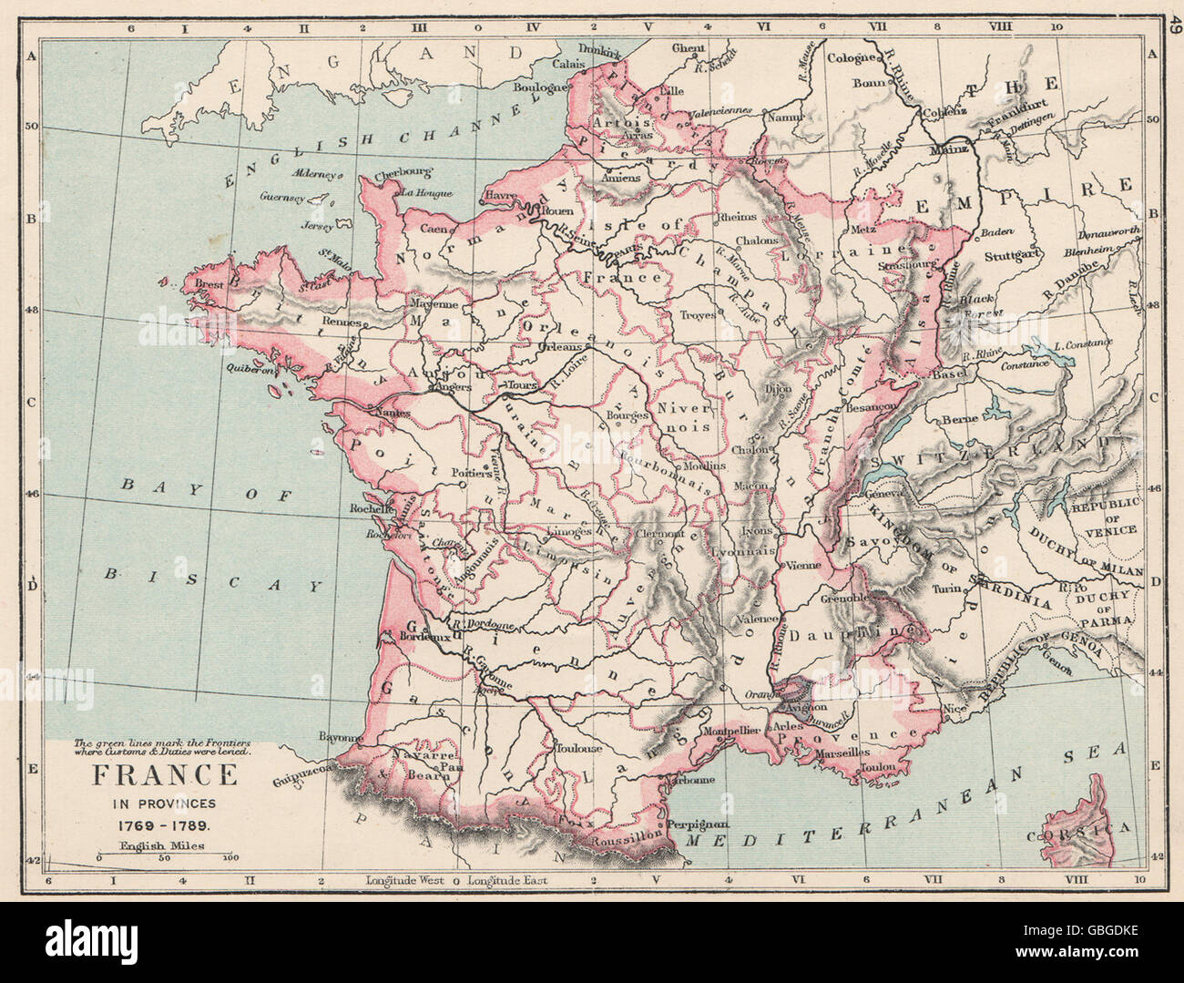 FRANCE: France in provinces 1769-1789, 1907 antique map - Stock Image