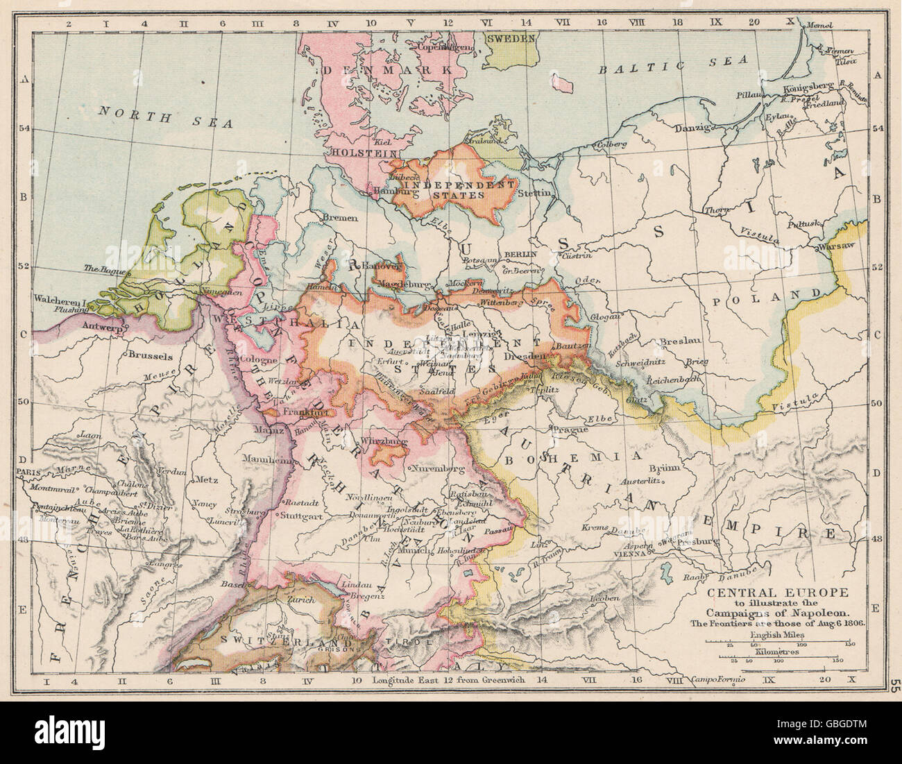 CENTRAL EUROPE:illustrating Napoleon's campaigns.1806 frontiers.Battles 1907 map - Stock Image