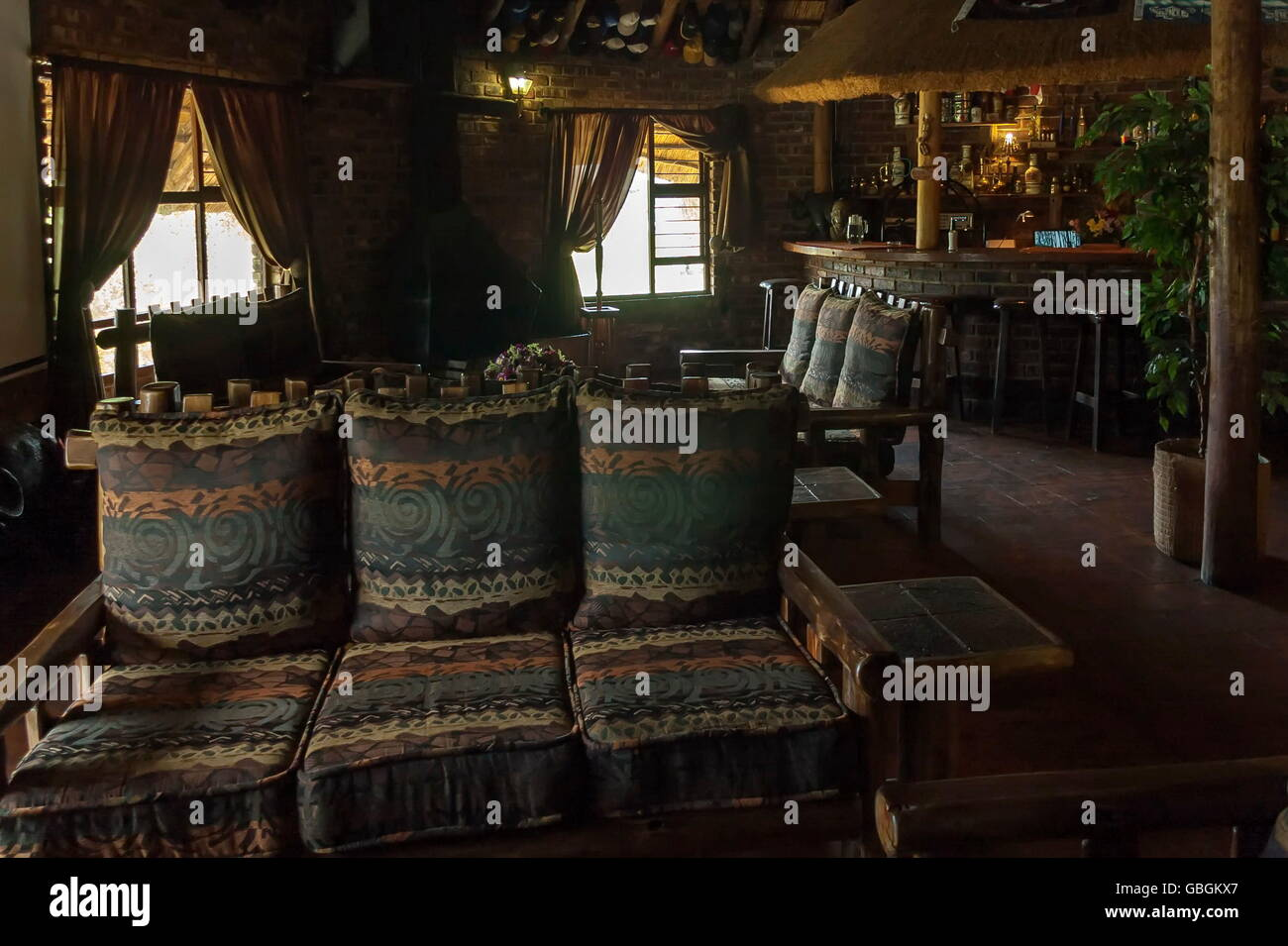 Indoors public place by guest house in South Africa - Stock Image