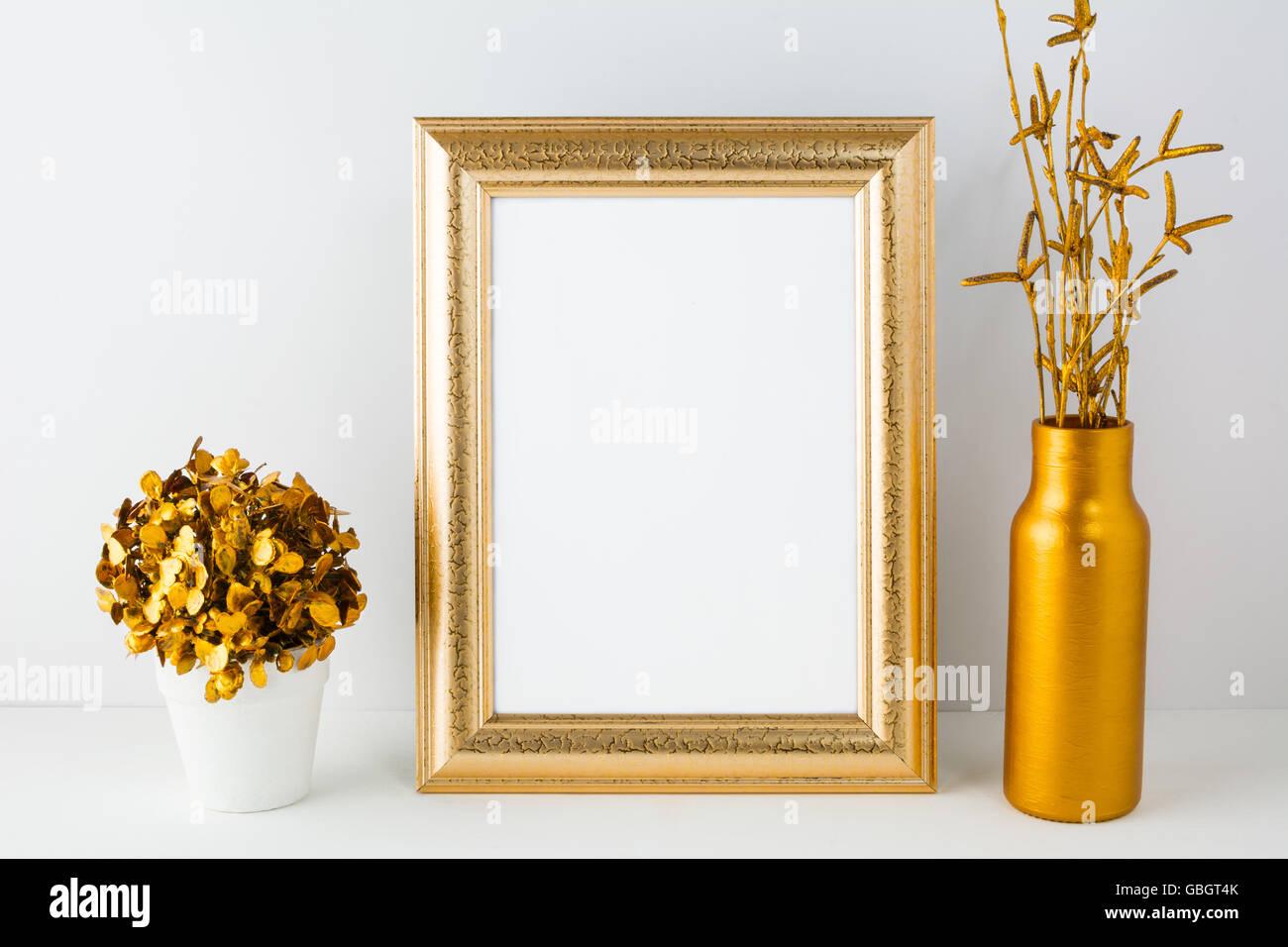 e9285b473614 Frame mockup with golden vase. Frame mockup. Gold frame mockup. Poster  Mockup. Styled mockup. Portrait frame mockup. Product moc