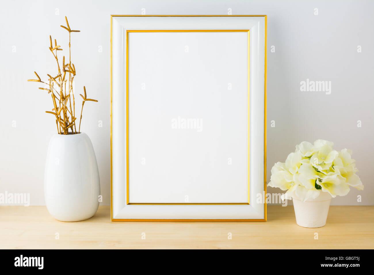 69c1c952d8fd Frame mockup with white flowerpot. Frame mockup. Poster Mockup. Styled  mockup. Portrait frame mockup. Product mockup. Design Mo