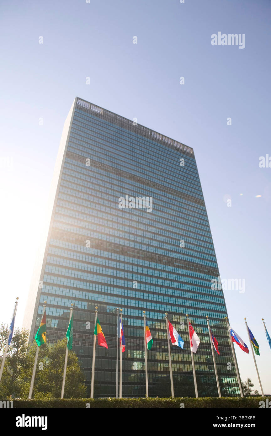8 September 2005 - New York City - Member state flags fly in front of the United Nations headquarters building. Stock Photo