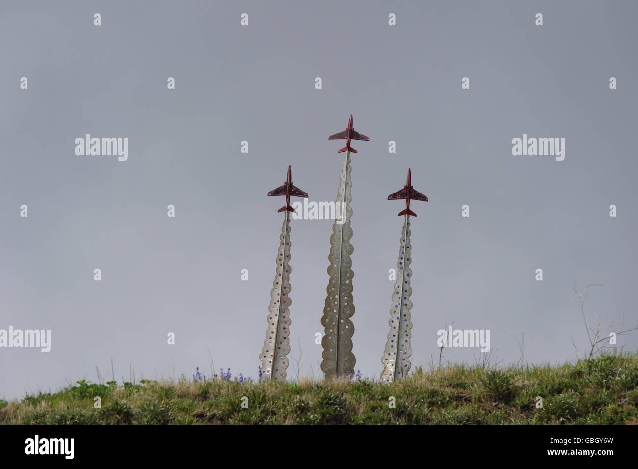 Red arrows memorial at Bournemouth beach for FLT Lt Jon Egging who tragically died in a accident at the Bournemouth - Stock Image