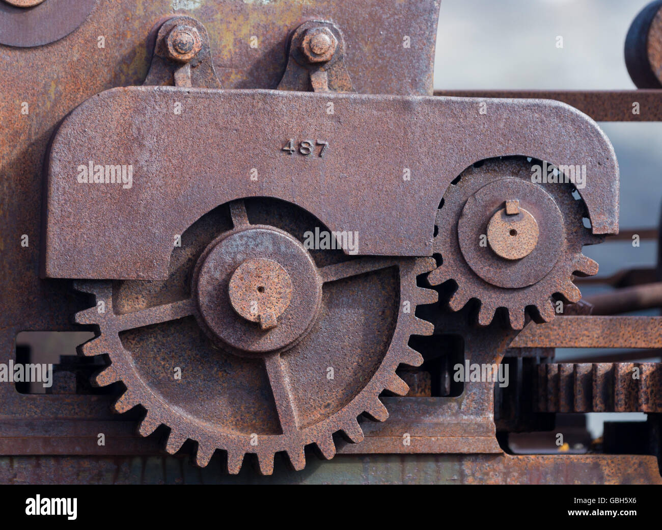 Rusty machinery at the ruins of  the marble quarry at Ny London, Kongsfjorden, Spitsbergen, Svalbard Islands, Norway - Stock Image