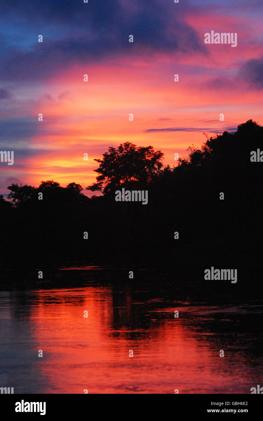 Sunset on a Bolivian pampas/pantanal tour - Stock Image