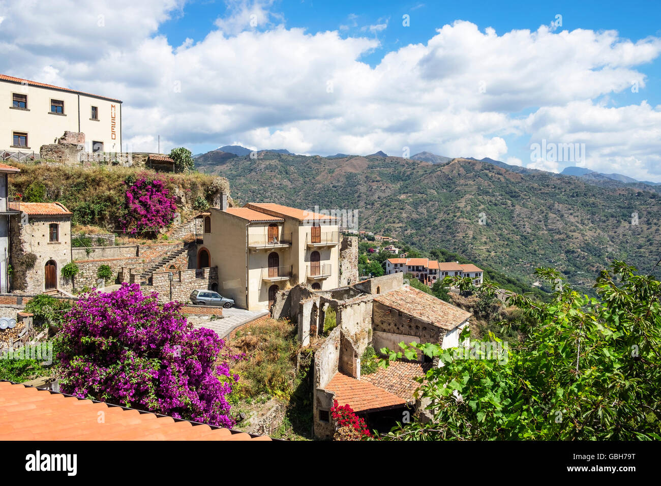 The medieval village of Savoca in the Peloritani Mountains near Messina on the Italian island of Sicily - Stock Image