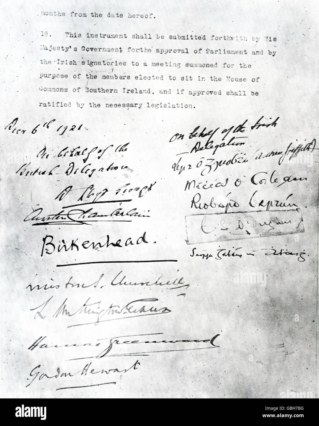 ANGLO-IRISH TREATY December 1921 - signature page - Stock Image