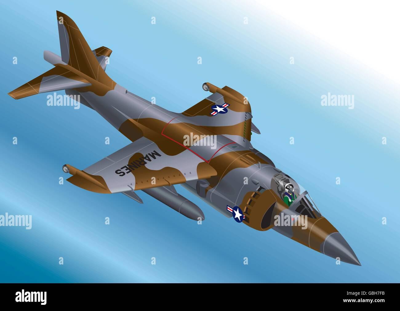 Detailed Isometric Vector Illustration of a US Marine Corp AV-8A / AV-8B Vertical Take Off Jet Fighter Stock Vector