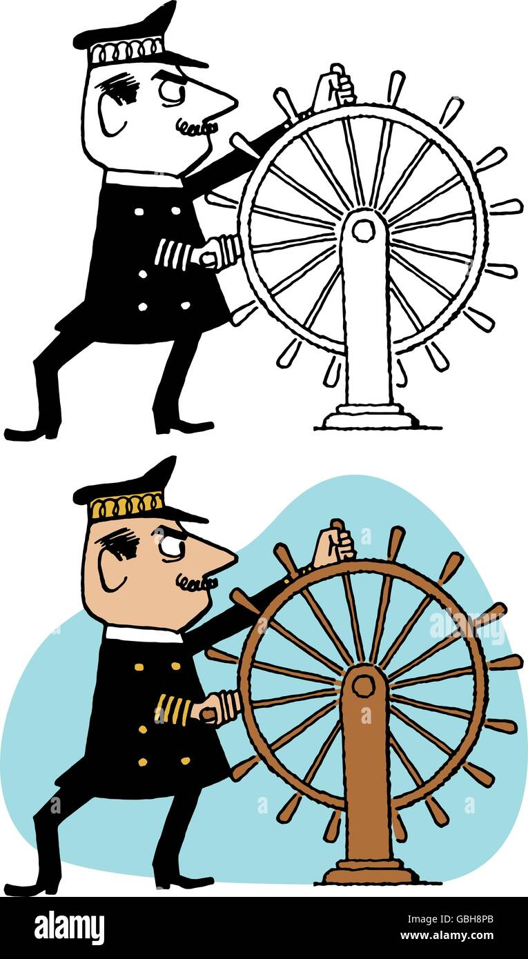 A sea captain steers his vessel using a large wooden wheel. - Stock Image