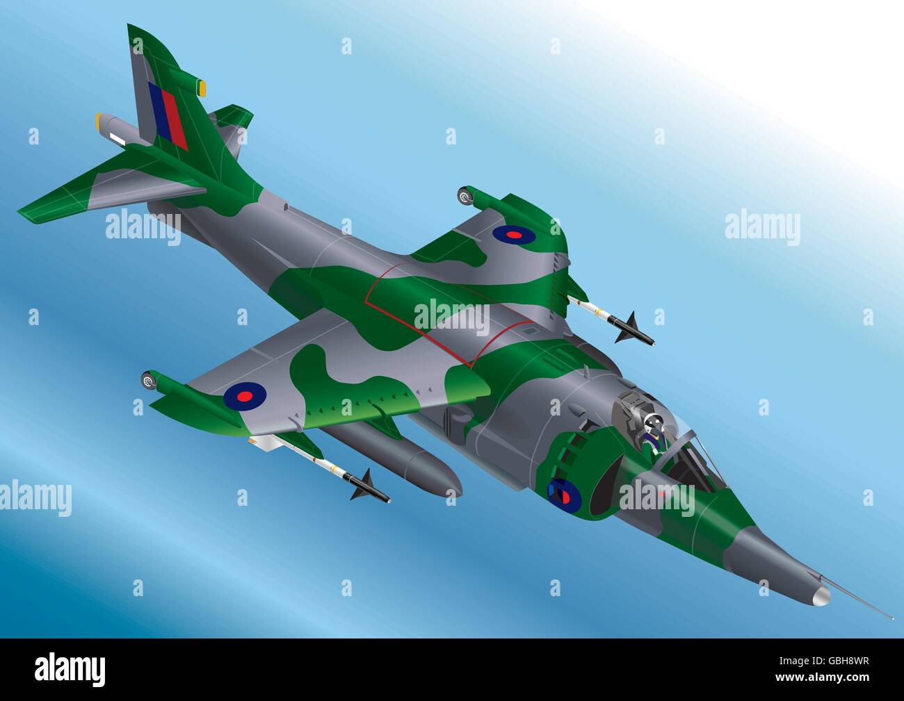 Detailed Isometric Vector Illustration of a Royal Air Force Harrier Jet Fighter Stock Vector