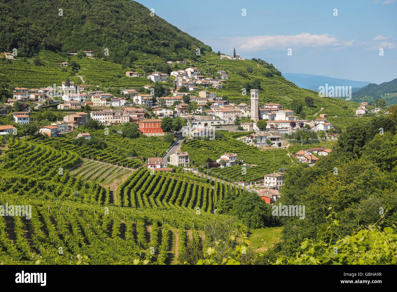 Small town of Valdobbiadene, surrounded by vineyards, zone of production of traditional italian white sparkling Stock Photo