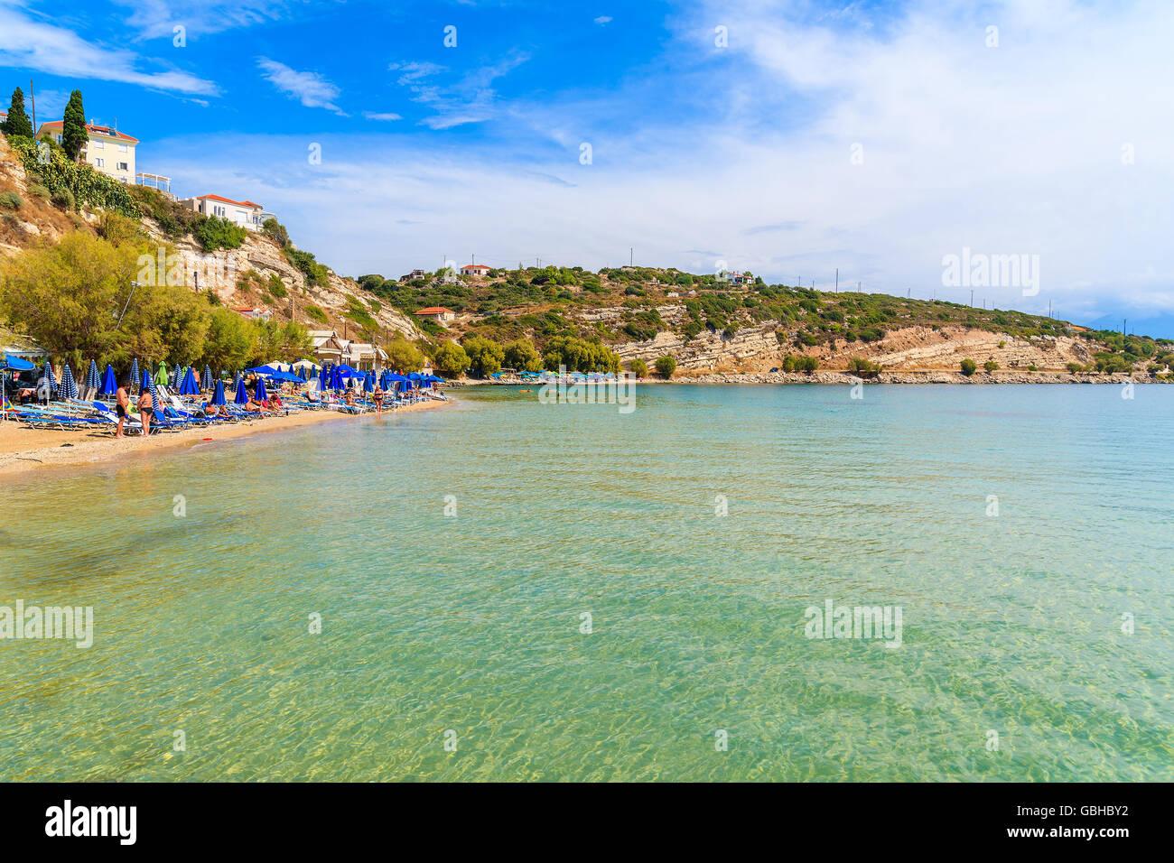 A view of Pythagorion beach, Samos island, Greece Stock Photo