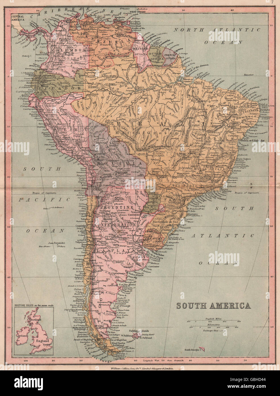 SOUTH AMERICA:Bolivia with sea coast;borders pre 'War of the Pacific'., 1880 map - Stock Image