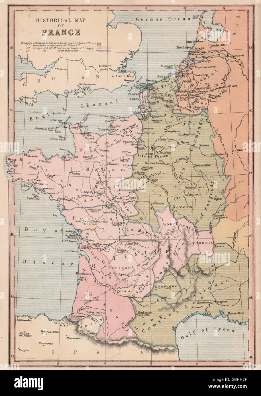 Map Of France With Key.English Territory In France Key Battles Dates Date Land Lost Stock