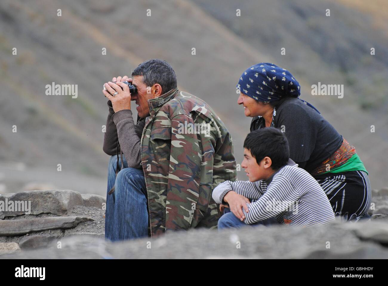 Shepherd family in Xinaliq mountainous village in Azerbaijan - Stock Image