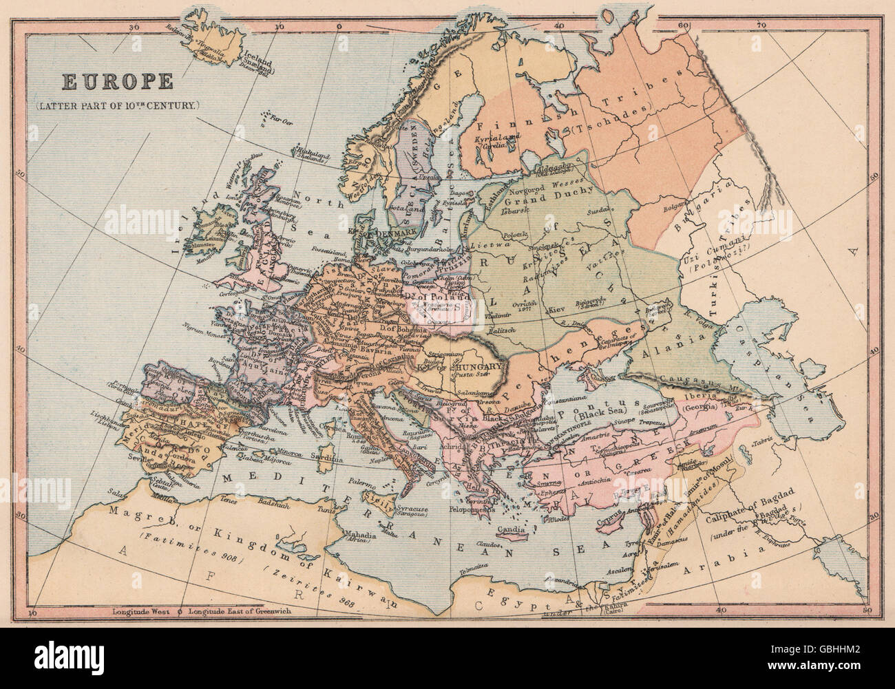 10TH CENTURY EUROPE: Holy Roman Empire Caliphate of Cordoba. COLLINS, 1880 map Stock Photo