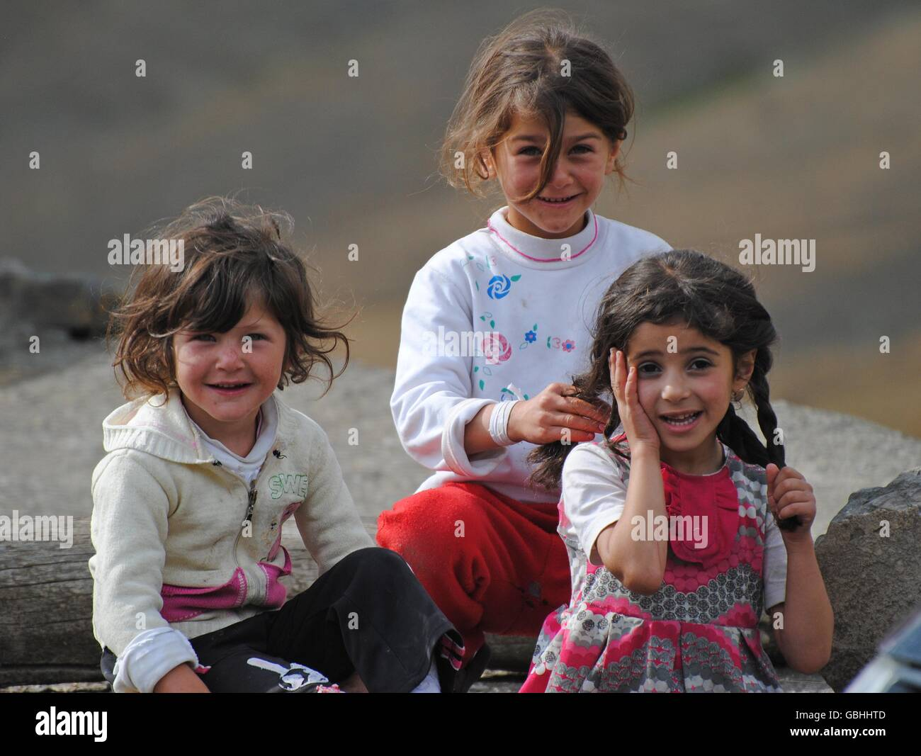 Young Xinaliq beauties in Azerbaijan. - Stock Image