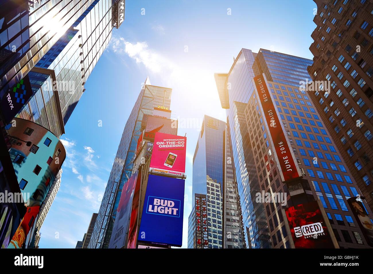 NEW YORK CITY - JUNE 14, 2016: Times Square. Skyscrapers Stock Photo