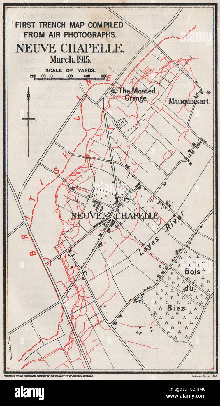 WW1 WESTERN FRONT: 1st trench map from aerial photos. Neuve Chapelle ...