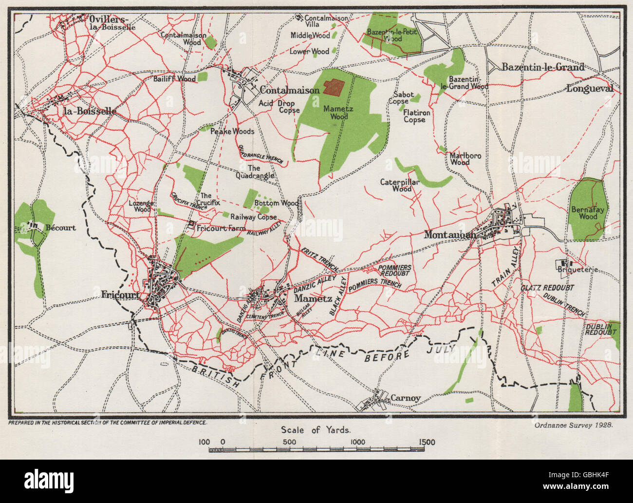 WW1 WESTERN FRONT: British right attacks, July 1916. Trenches in red, 1928 map Stock Photo