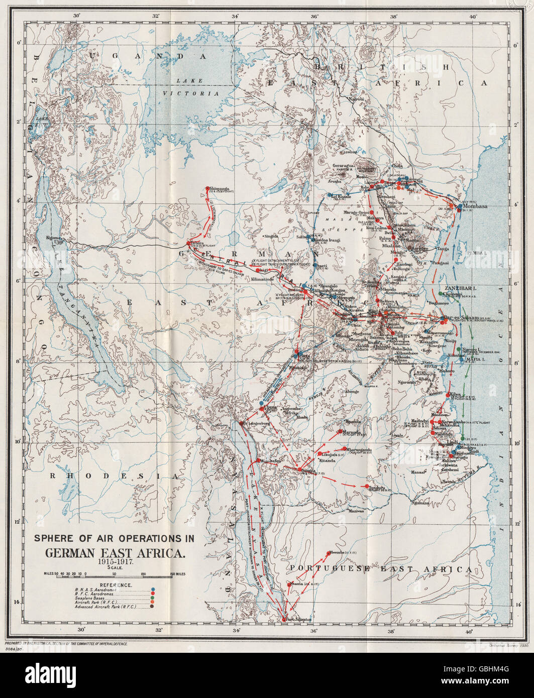 FIRST WORLD WAR:Air Operations in German East Africa,1915-1917.Tanzania 1931 map Stock Photo