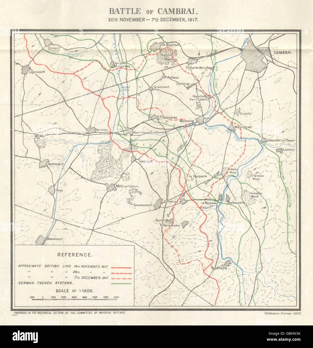 WW1 WESTERN FRONT: Battle of Cambrai, 20 Nov-7 Dec 1917. Trenches, 1934 map - Stock Image