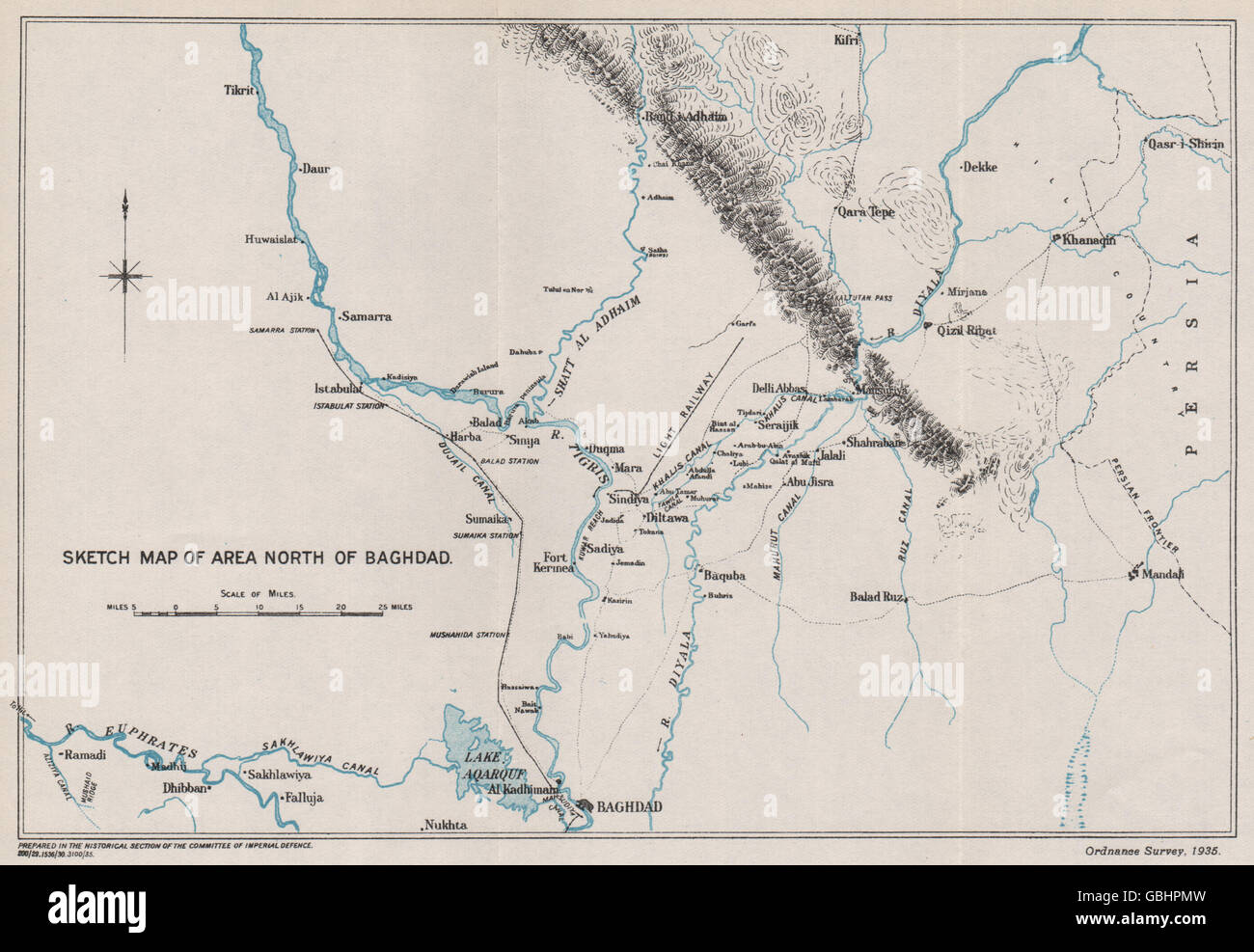 first world war sketch map of area north of baghdad mesopotamia iraq 1935