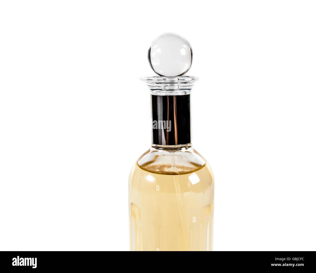 Bottle of female perfume on isolated white background - Stock Image