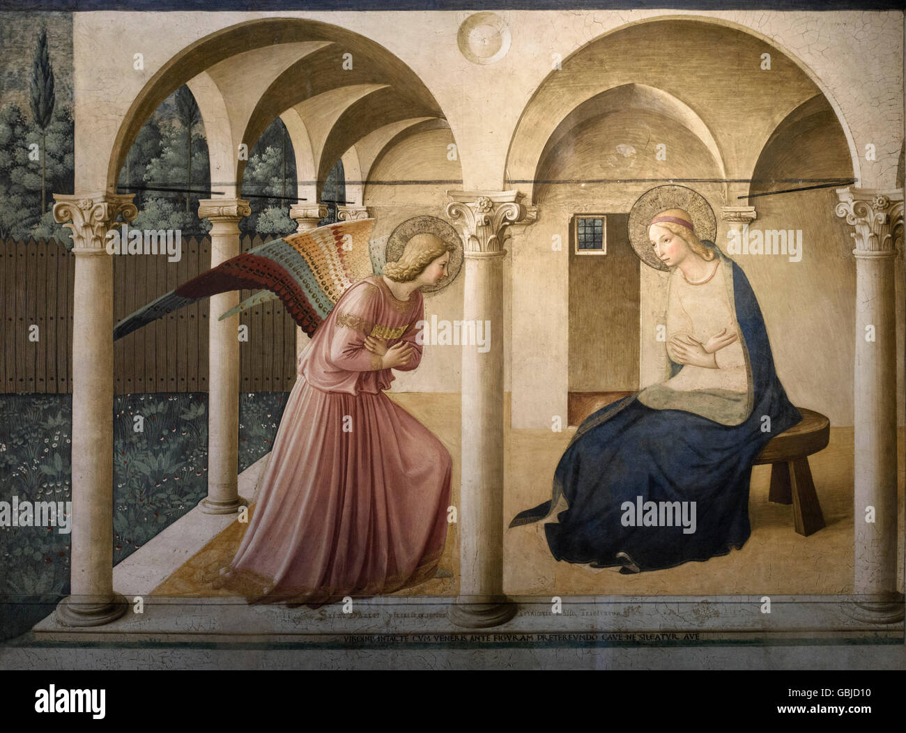 Florence. Italy. The Annunciation (ca. 1442), fresco by Fra Angelico. Museo di San Marco. - Stock Image