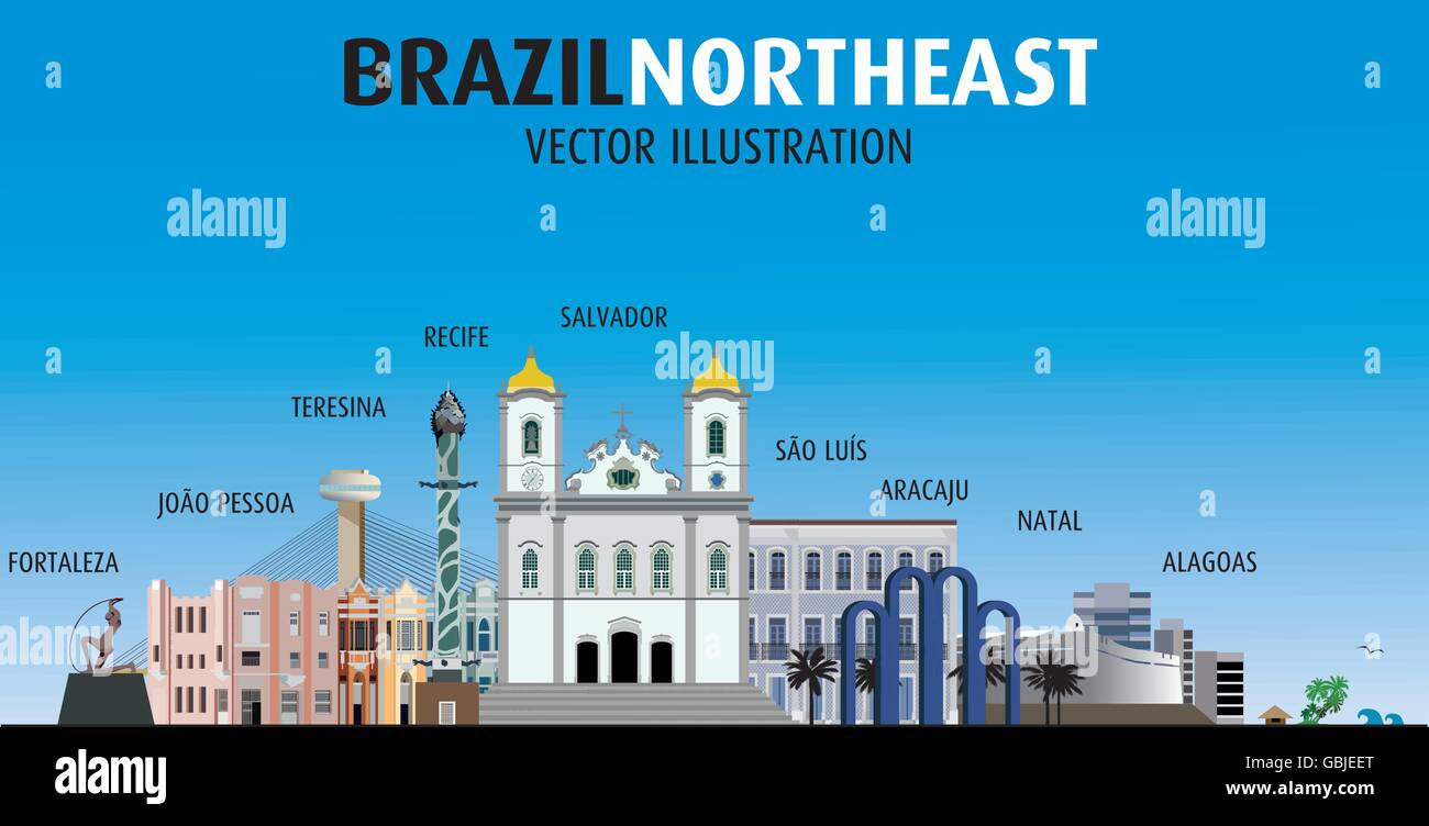Vector image of sights of cities of northeast Brazil. - Stock Vector