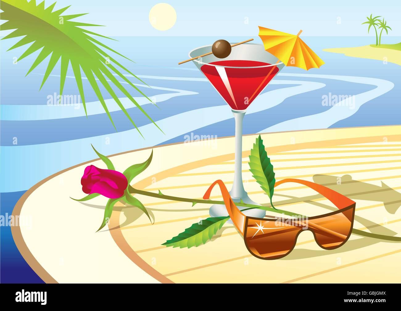 Beach cocktail - vector illustration - Stock Vector