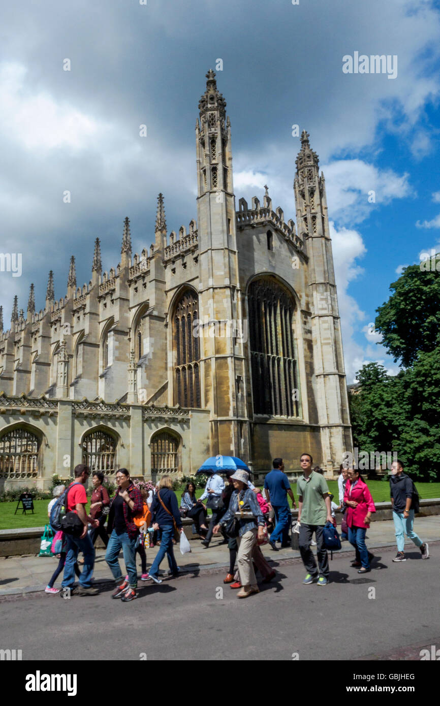 Upward shot from street level of King's College Cambridge Chapel, Cambridge, England, UK - Stock Image