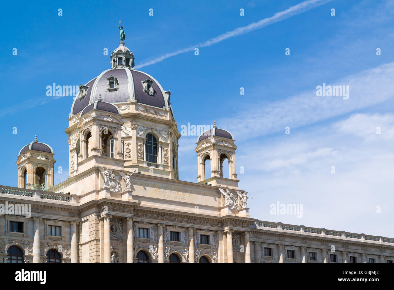 Top of facade of Imperial Natural History Museum on Marie Theresien Platz near Ringstrasse in Vienna, Austria - Stock Image