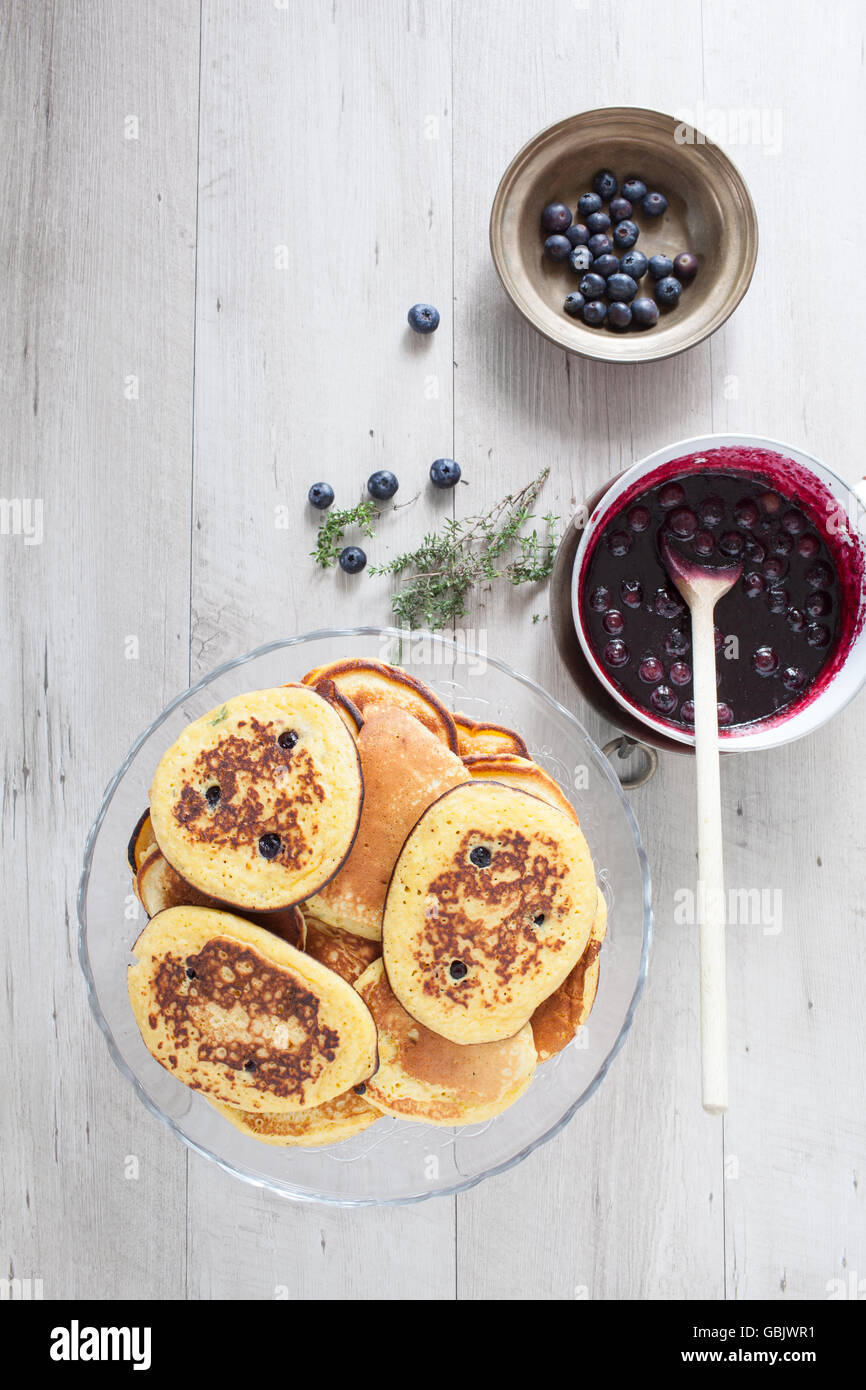 Whole Wheat Blueberry Pancakes - Stock Image