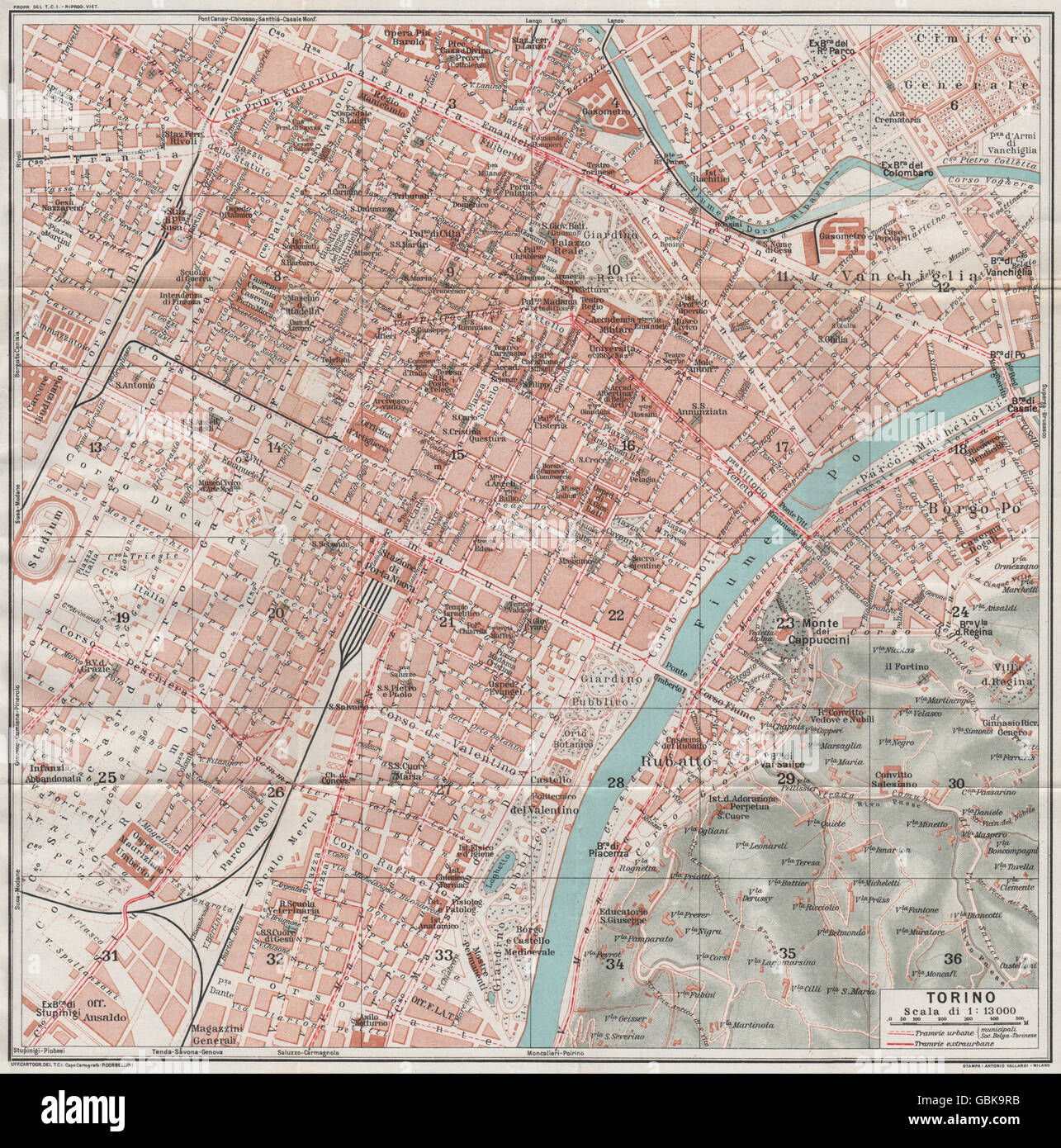Map Of Italy Torino.Turin Torino Vintage Town City Map Plan Italy 1924 Stock Photo
